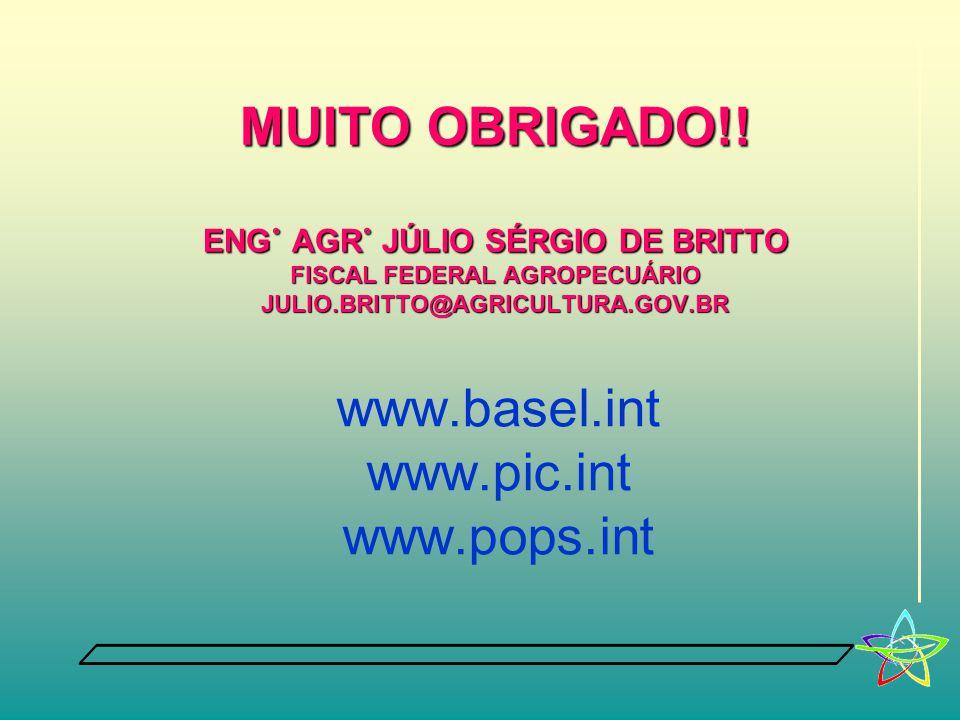 MUITO OBRIGADO!! Eng˚ Agr˚ júlio sérgio de britto fiscal federal agropecuário julio.britto@agricultura.gov.br