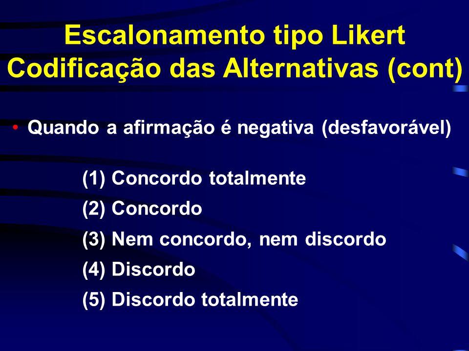 Escalonamento tipo Likert Codificação das Alternativas (cont)