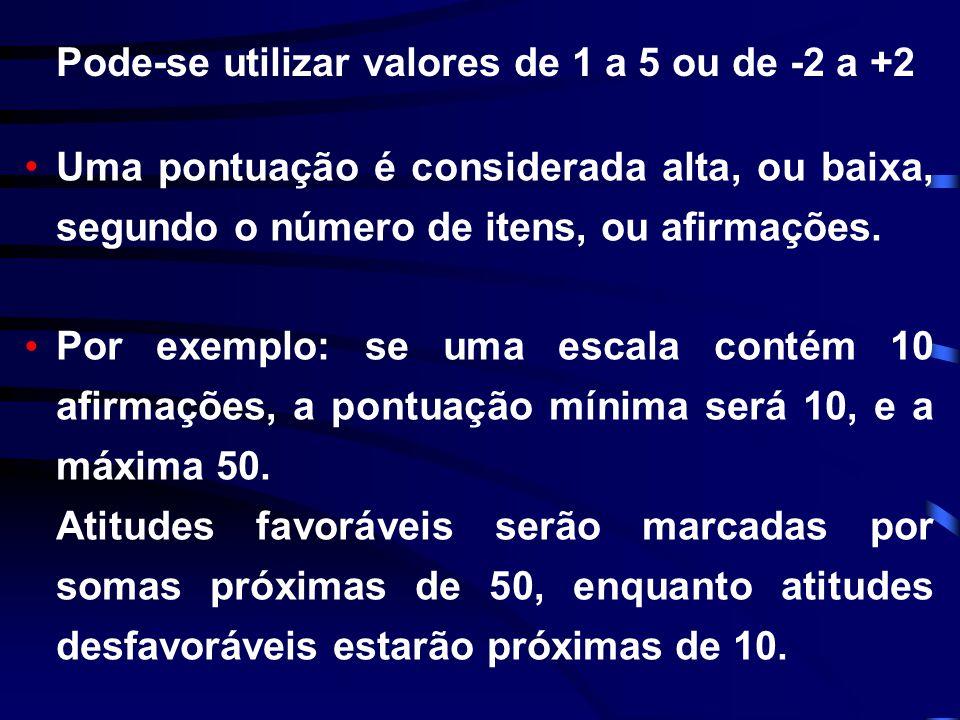 Pode-se utilizar valores de 1 a 5 ou de -2 a +2