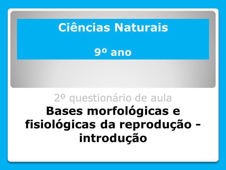 Bases morfológicas e fisiológicas da reprodução - introdução