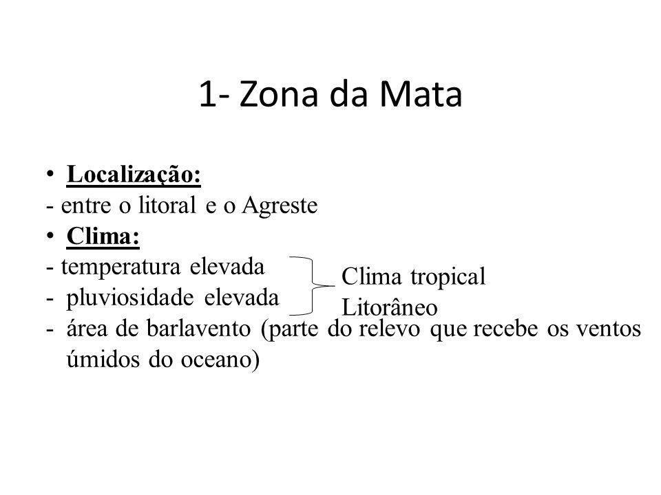 1- Zona da Mata Localização: - entre o litoral e o Agreste Clima: