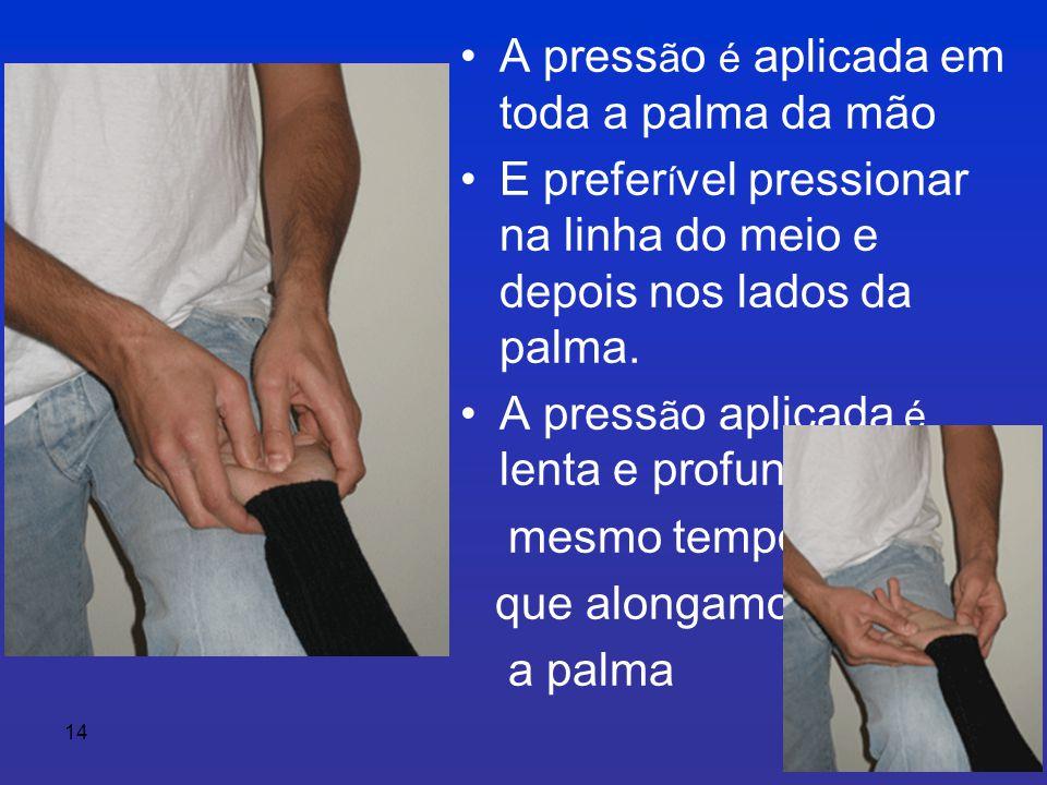 A pressão é aplicada em toda a palma da mão