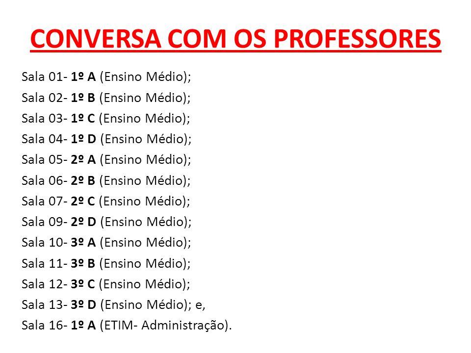 CONVERSA COM OS PROFESSORES