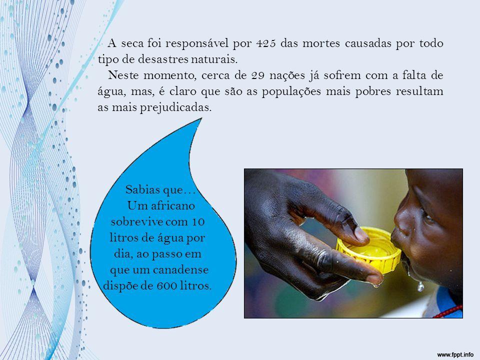 Um africano sobrevive com 10 litros de água por dia, ao passo em