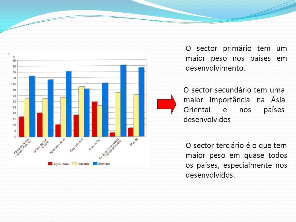 O sector primário tem um maior peso nos países em desenvolvimento.