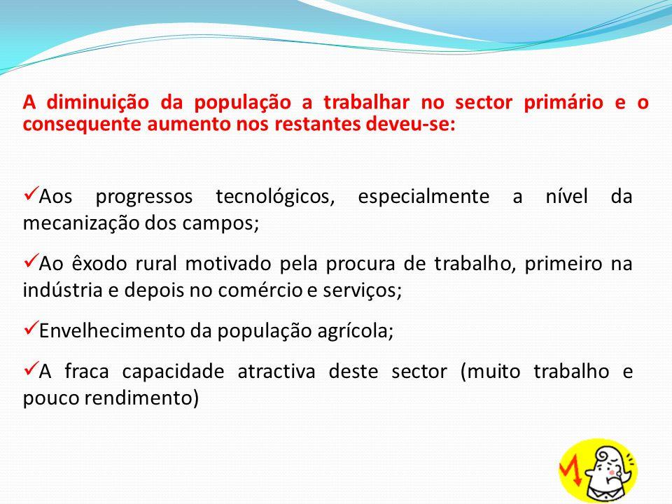 A diminuição da população a trabalhar no sector primário e o consequente aumento nos restantes deveu-se: