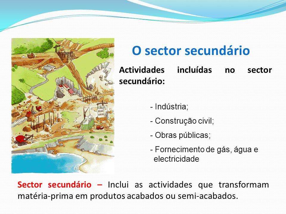 O sector secundário Actividades incluídas no sector secundário: