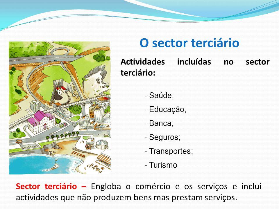 O sector terciário Actividades incluídas no sector terciário: