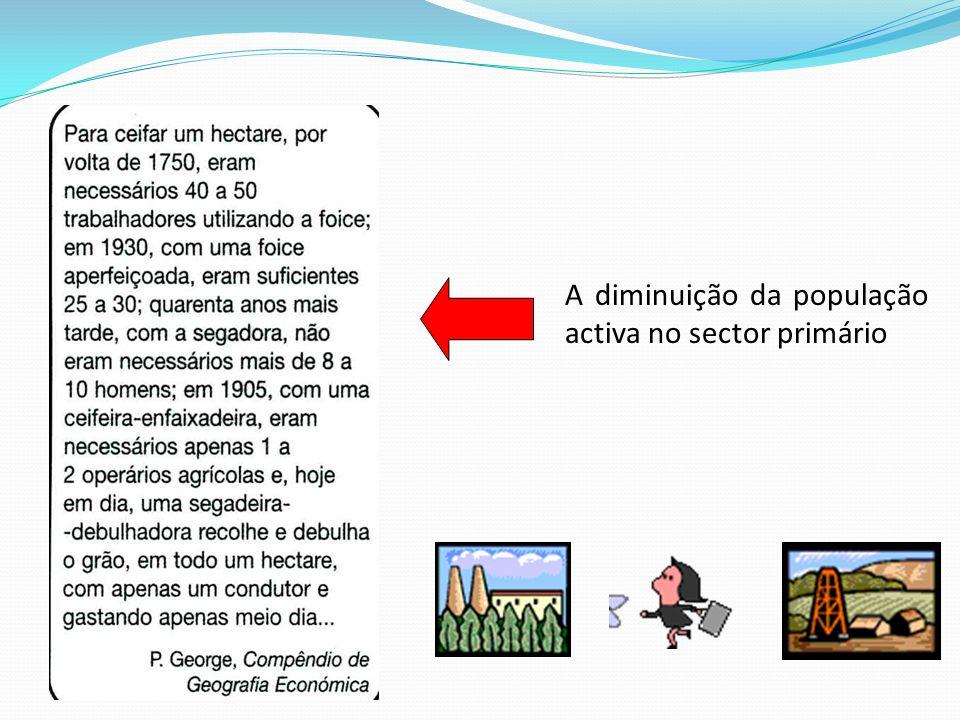 A diminuição da população activa no sector primário