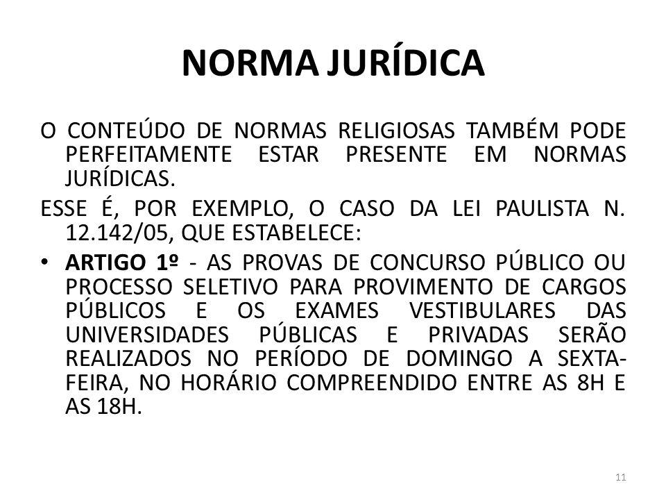 NORMA JURÍDICA O CONTEÚDO DE NORMAS RELIGIOSAS TAMBÉM PODE PERFEITAMENTE ESTAR PRESENTE EM NORMAS JURÍDICAS.