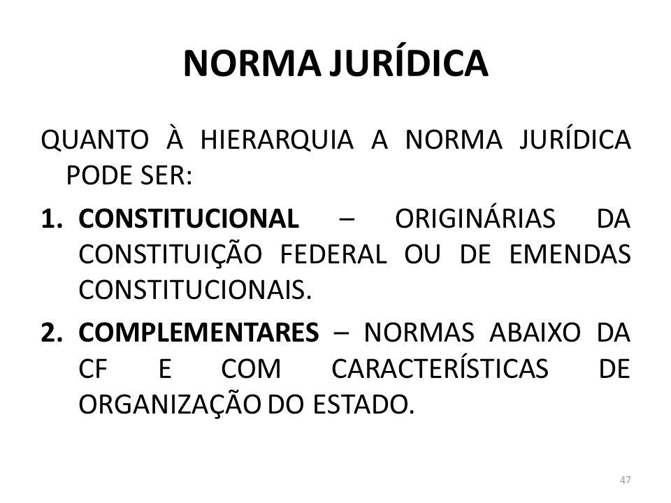 NORMA JURÍDICA QUANTO À HIERARQUIA A NORMA JURÍDICA PODE SER: