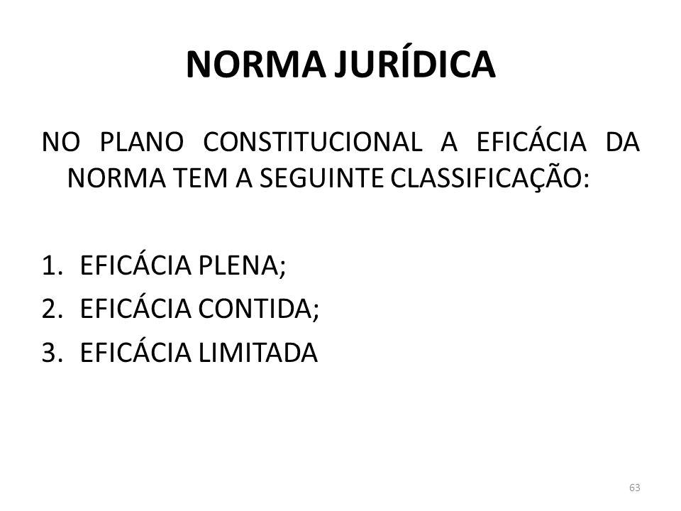 NORMA JURÍDICA NO PLANO CONSTITUCIONAL A EFICÁCIA DA NORMA TEM A SEGUINTE CLASSIFICAÇÃO: EFICÁCIA PLENA;