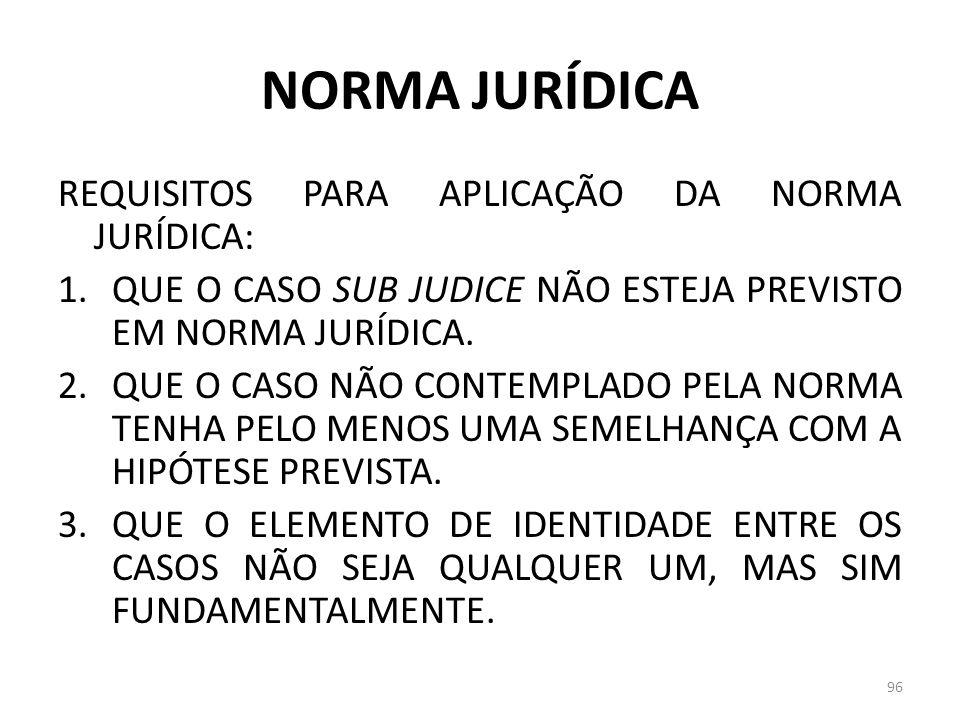 NORMA JURÍDICA REQUISITOS PARA APLICAÇÃO DA NORMA JURÍDICA: