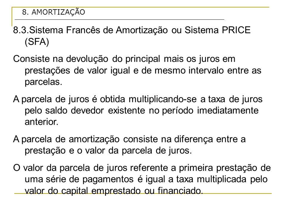 8.3.Sistema Francês de Amortização ou Sistema PRICE (SFA)
