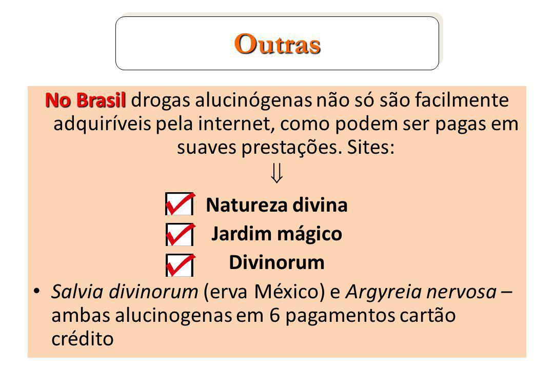 Outras No Brasil drogas alucinógenas não só são facilmente adquiríveis pela internet, como podem ser pagas em suaves prestações. Sites: