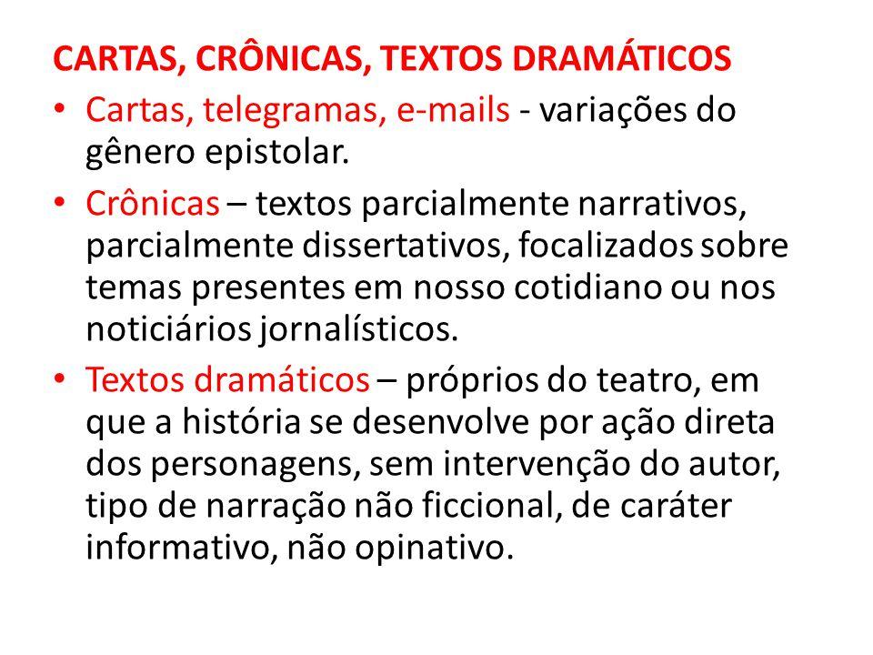 CARTAS, CRÔNICAS, TEXTOS DRAMÁTICOS