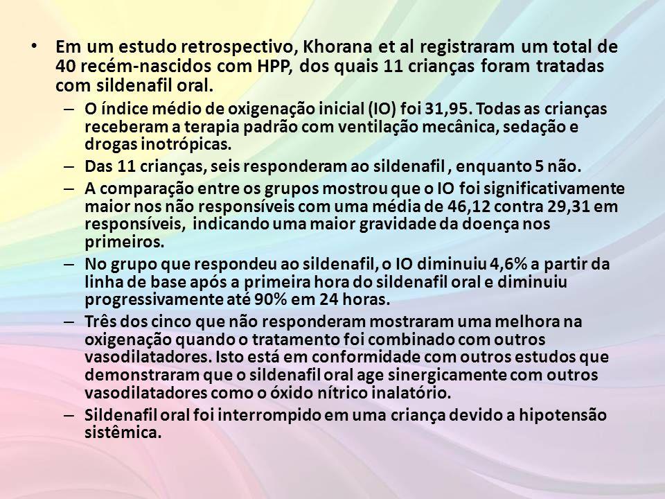 Em um estudo retrospectivo, Khorana et al registraram um total de 40 recém-nascidos com HPP, dos quais 11 crianças foram tratadas com sildenafil oral.