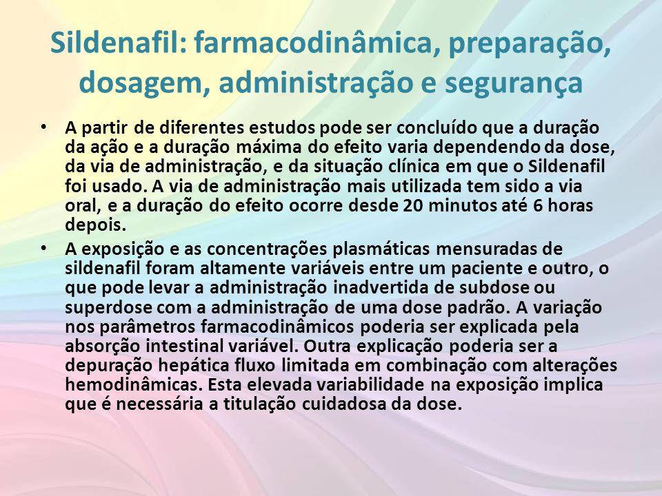 Sildenafil: farmacodinâmica, preparação, dosagem, administração e segurança