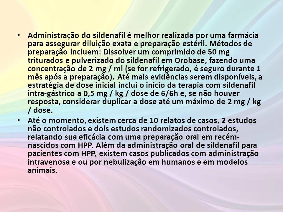 Administração do sildenafil é melhor realizada por uma farmácia para assegurar diluição exata e preparação estéril. Métodos de preparação incluem: Dissolver um comprimido de 50 mg triturados e pulverizado do sildenafil em Orobase, fazendo uma concentração de 2 mg / ml (se for refrigerado, é seguro durante 1 mês após a preparação). Até mais evidências serem disponíveis, a estratégia de dose inicial inclui o inicio da terapia com sildenafil intra-gástrico a 0,5 mg / kg / dose de 6/6h e, se não houver resposta, considerar duplicar a dose até um máximo de 2 mg / kg / dose.