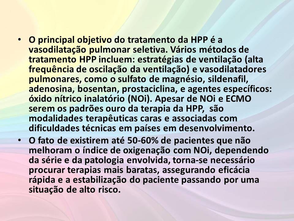 O principal objetivo do tratamento da HPP é a vasodilatação pulmonar seletiva. Vários métodos de tratamento HPP incluem: estratégias de ventilação (alta frequência de oscilação da ventilação) e vasodilatadores pulmonares, como o sulfato de magnésio, sildenafil, adenosina, bosentan, prostaciclina, e agentes específicos: óxido nítrico inalatório (NOi). Apesar de NOi e ECMO serem os padrões ouro da terapia da HPP, são modalidades terapêuticas caras e associadas com dificuldades técnicas em países em desenvolvimento.