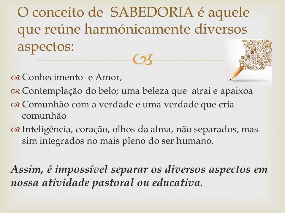 O conceito de SABEDORIA é aquele que reúne harmónicamente diversos aspectos: