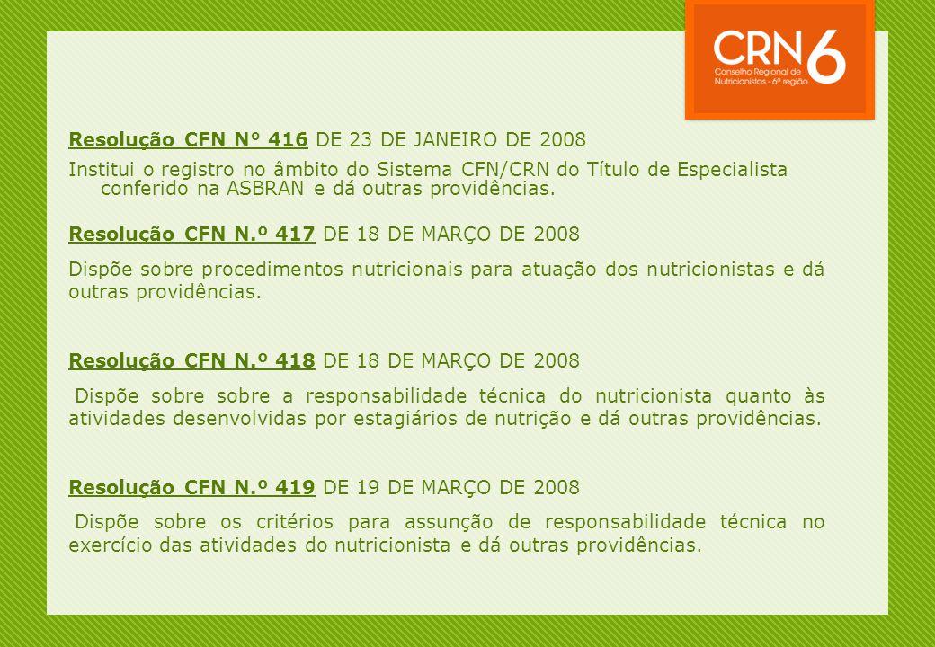 Resolução CFN N° 416 DE 23 DE JANEIRO DE 2008