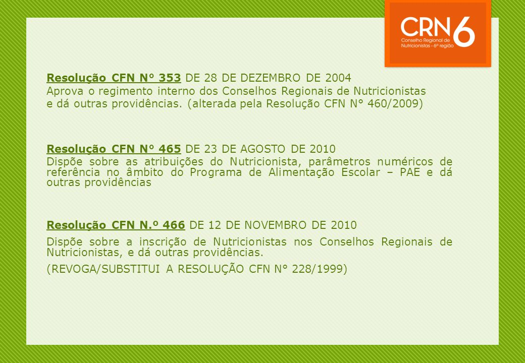 Resolução CFN N° 353 DE 28 DE DEZEMBRO DE 2004