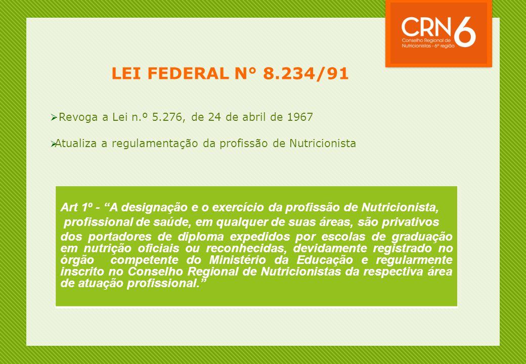 LEI FEDERAL N° 8.234/91 Revoga a Lei n.º 5.276, de 24 de abril de 1967. Atualiza a regulamentação da profissão de Nutricionista.