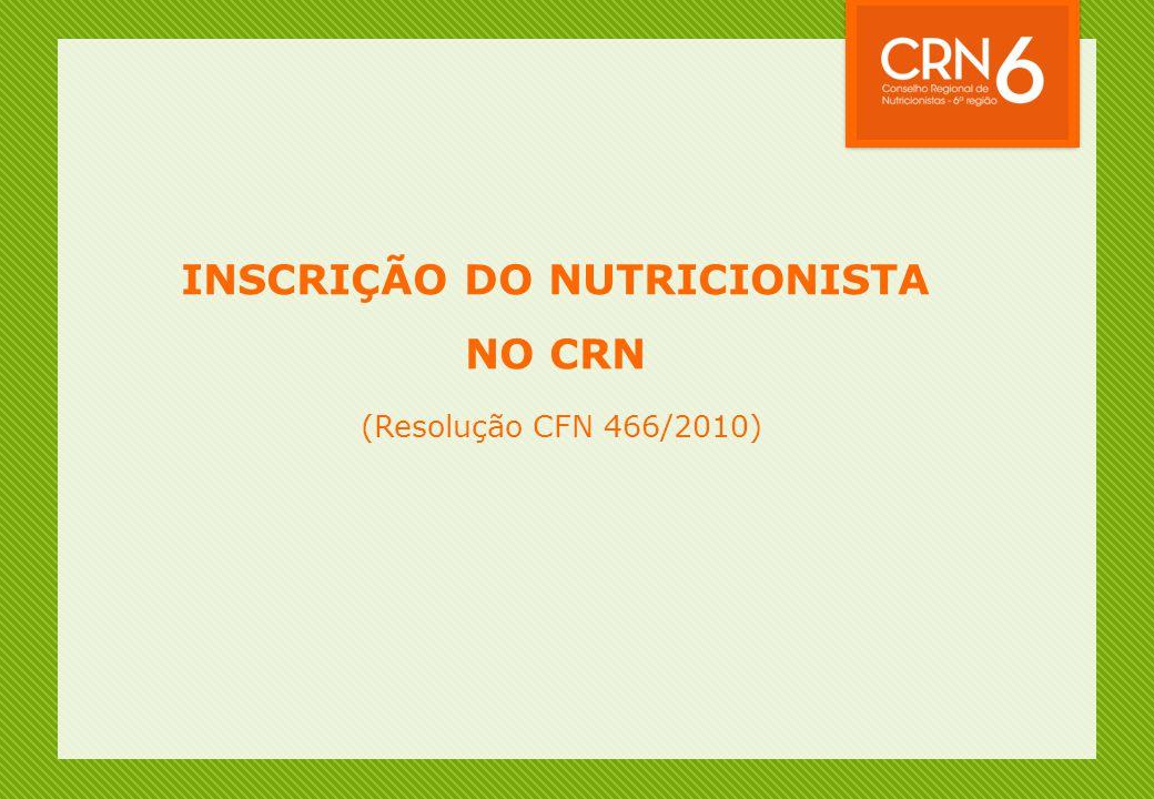 INSCRIÇÃO DO NUTRICIONISTA