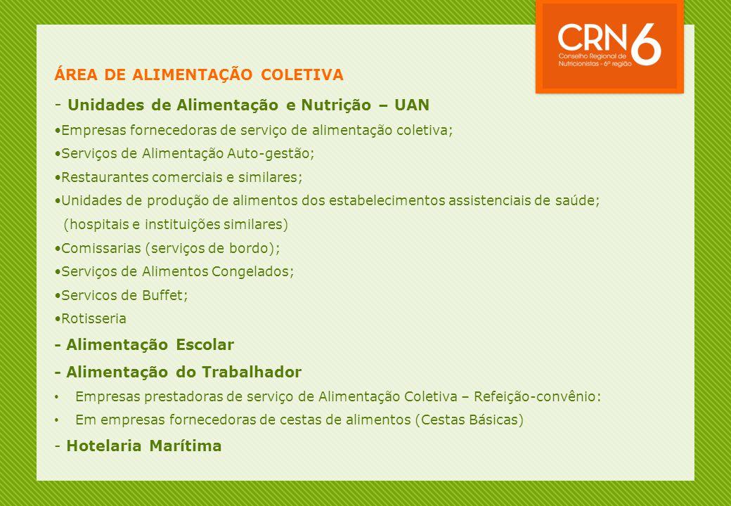 - Unidades de Alimentação e Nutrição – UAN