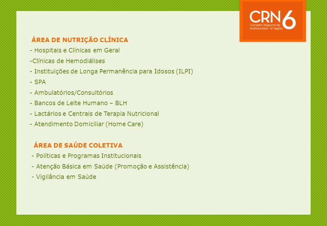ÁREA DE NUTRIÇÃO CLÍNICA