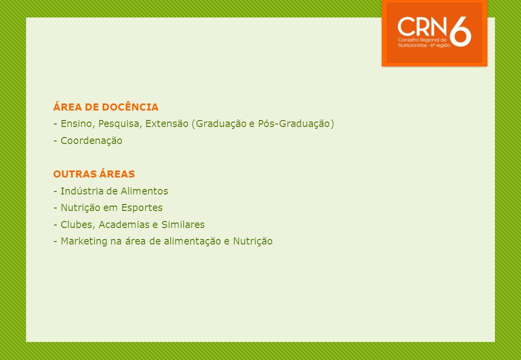 ÁREA DE DOCÊNCIA - Ensino, Pesquisa, Extensão (Graduação e Pós-Graduação) - Coordenação. OUTRAS ÁREAS.