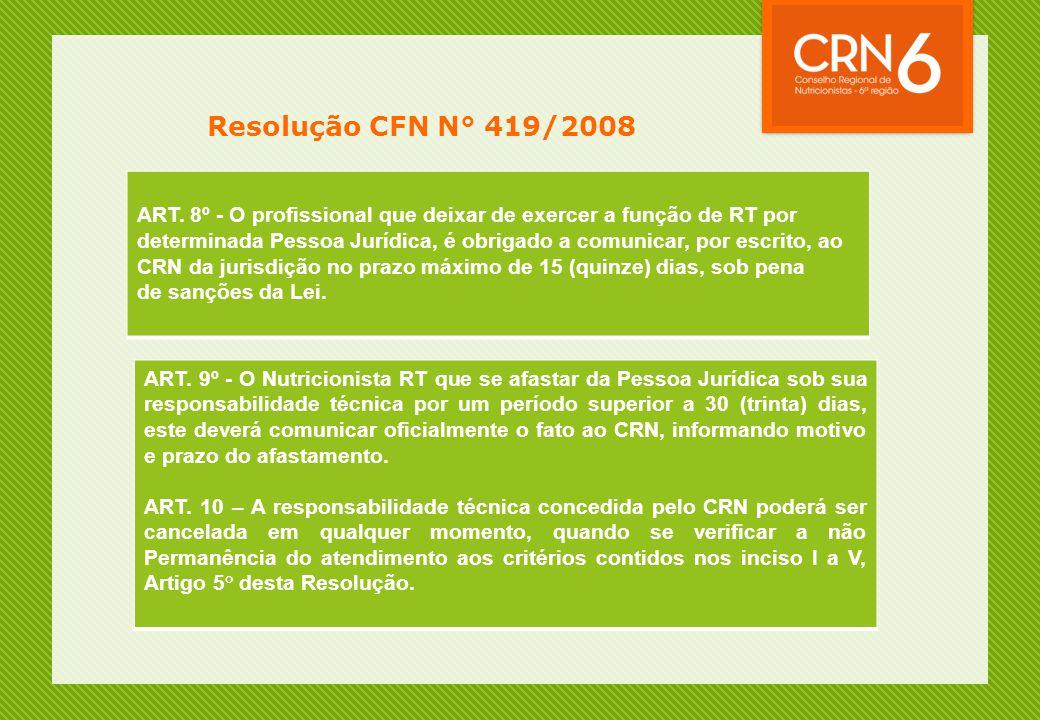 Resolução CFN N° 419/2008 ART. 8º - O profissional que deixar de exercer a função de RT por.