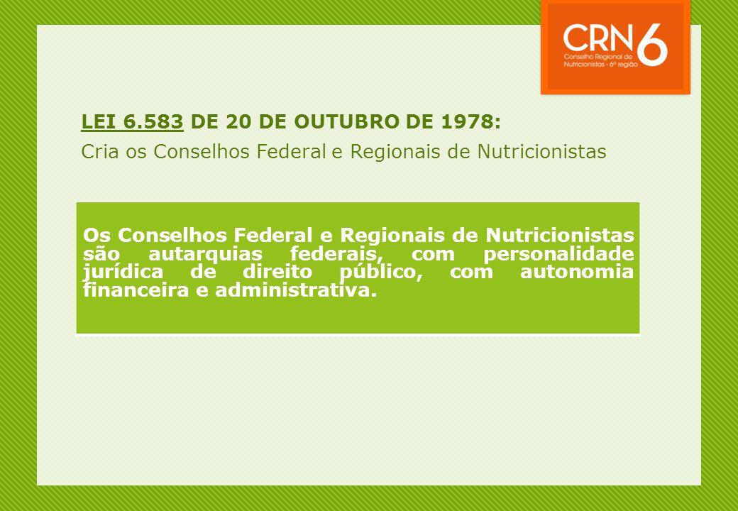 LEI 6.583 DE 20 DE OUTUBRO DE 1978: Cria os Conselhos Federal e Regionais de Nutricionistas.