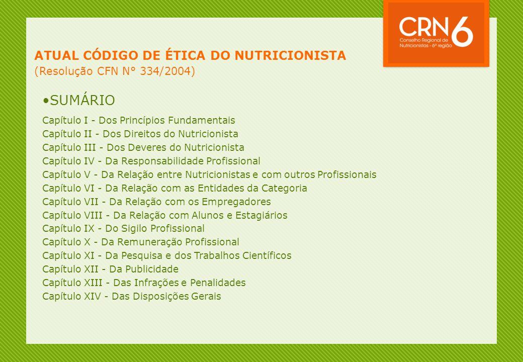 SUMÁRIO ATUAL CÓDIGO DE ÉTICA DO NUTRICIONISTA