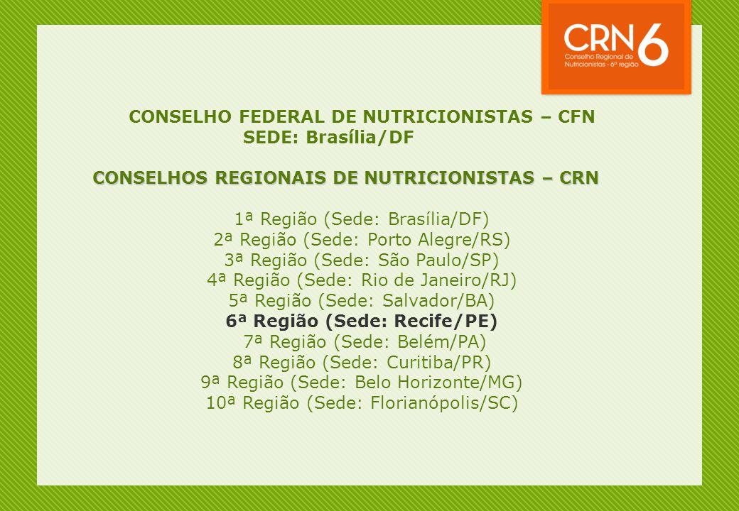 CONSELHO FEDERAL DE NUTRICIONISTAS – CFN 6ª Região (Sede: Recife/PE)