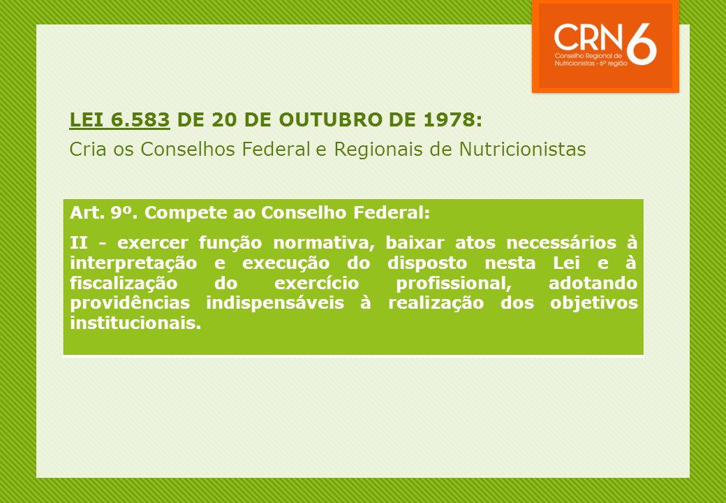 Cria os Conselhos Federal e Regionais de Nutricionistas