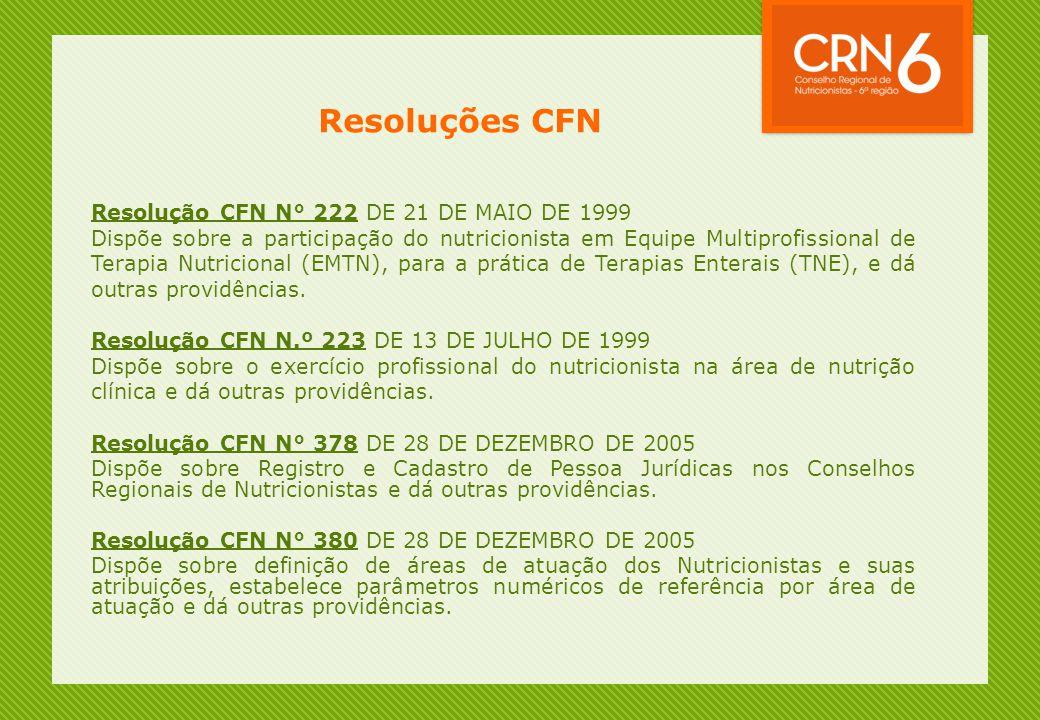 Resoluções CFN Resolução CFN N° 222 DE 21 DE MAIO DE 1999