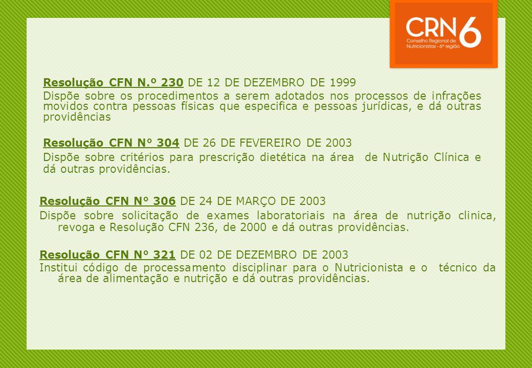 Resolução CFN N.º 230 DE 12 DE DEZEMBRO DE 1999