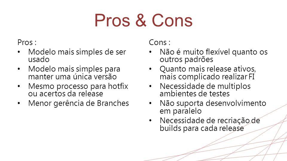 Pros & Cons Pros : Modelo mais simples de ser usado