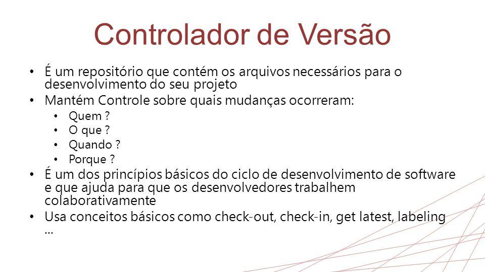 Controlador de Versão É um repositório que contém os arquivos necessários para o desenvolvimento do seu projeto.