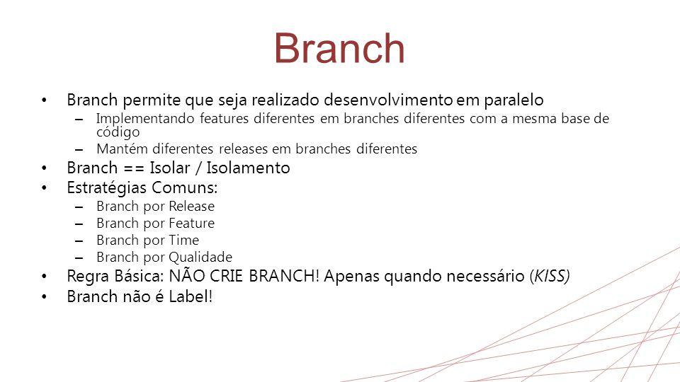 Branch Branch permite que seja realizado desenvolvimento em paralelo