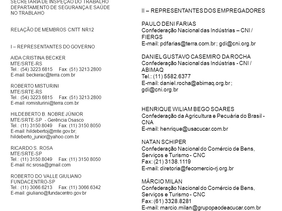 II – REPRESENTANTES DOS EMPREGADORES PAULO DENI FARIAS