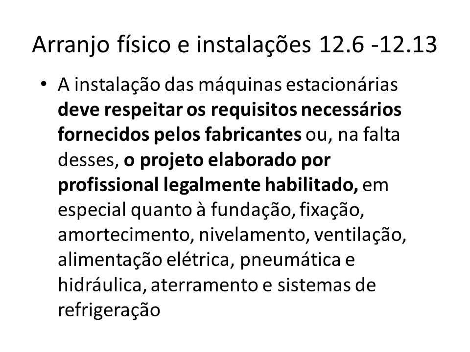 Arranjo físico e instalações 12.6 -12.13