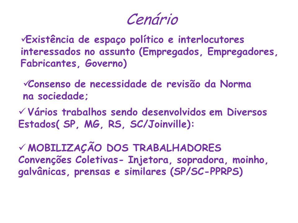 Cenário Existência de espaço político e interlocutores interessados no assunto (Empregados, Empregadores, Fabricantes, Governo)