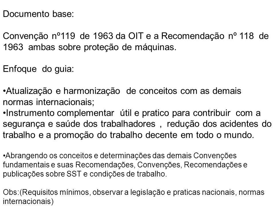 Documento base: Convenção nº119 de 1963 da OIT e a Recomendação nº 118 de 1963 ambas sobre proteção de máquinas.