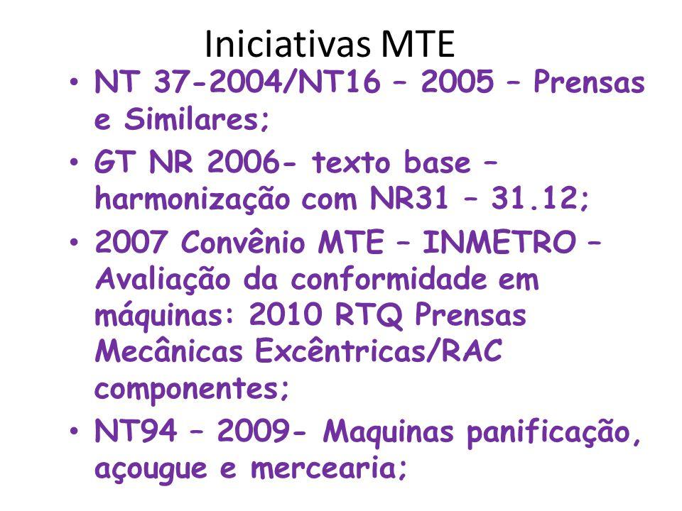 Iniciativas MTE NT 37-2004/NT16 – 2005 – Prensas e Similares;