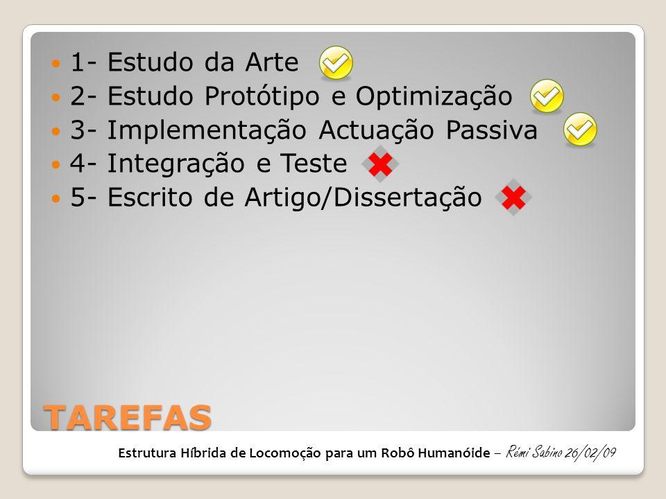 TAREFAS 1- Estudo da Arte 2- Estudo Protótipo e Optimização
