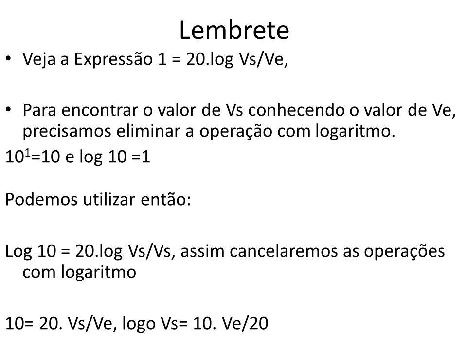 Lembrete Veja a Expressão 1 = 20.log Vs/Ve,