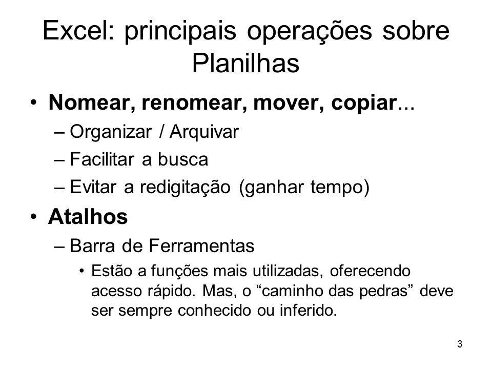 Excel: principais operações sobre Planilhas